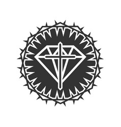 Diamond cross jesus framed with a crown vector