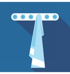 Digital blue towel on hanger in bathroom vector