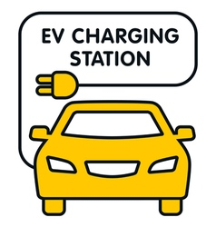 EV Charging Station signboard with the yellow car vector image