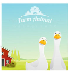 farm animal background with ducks vector image