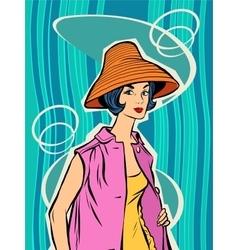 Fashion retro girl in the sun hat vector