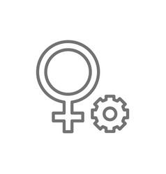 Female gender symbol line icon vector