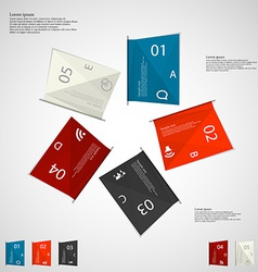 Five color paper sheets on light vector