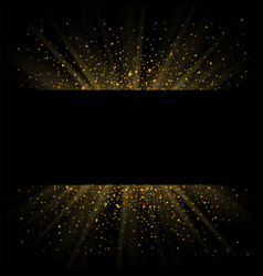 gold sparkle background black frame golden light vector image