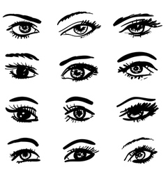 Hand drawn eyes collection vector