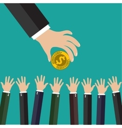 Hand of businessman giving money vector image