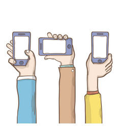 hands and phone vector image