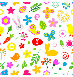happy easter seamless pattern easter vector image
