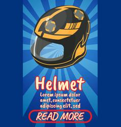 Helmet concept banner comics isometric style vector