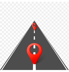 highway roadmap with pins vector image