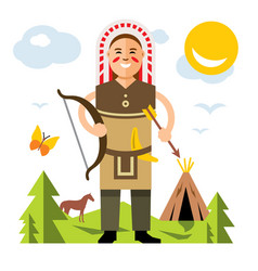 indian with bow and arrow flat style vector image