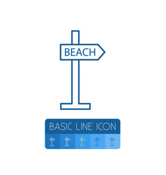 Isolated beach outline signpost element vector