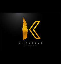 K golden gold feather letter logo icon design vector