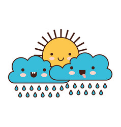 kawaii sun and cloud with rain in colorful vector image