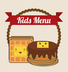 Kids menu pancake syrup butter vector