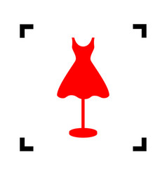 mannequin with dress sign red icon inside vector image