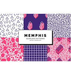 memphis seamless patterns vector image