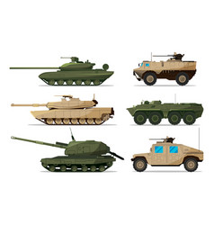 military vehicle different artillery machines vector image