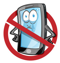 Mobile cell phone in cartoon style inside red vector