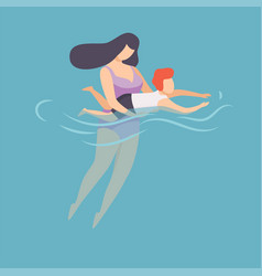 mother teaching to swim her little son happy mom vector image