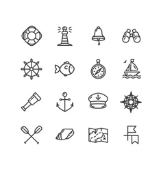Nautical Sea Icon Set vector image