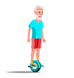 Old man on hoverboard riding on gyro vector