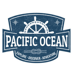 pacific ocean sign or stamp vector image
