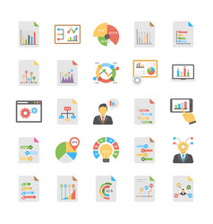Pack of flat relating business analytics t vector