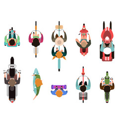 people on vehicles top view men and women riding vector image