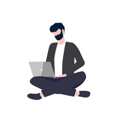 person sitting cross-legged with laptop vector image