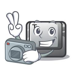 Photographer button t in keyboard cartoon vector