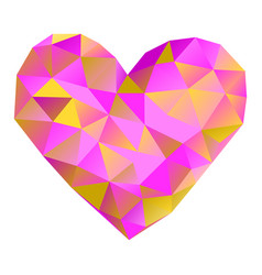 pink heart made of triangles valentines day vector image