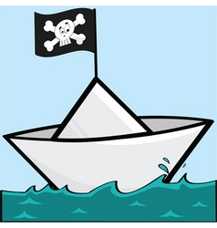 pirate paper boat vector image