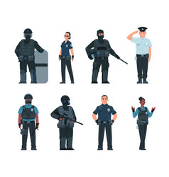 Police officers policeman and security guard vector