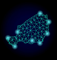 Polygonal wire frame mesh map of niger with light vector