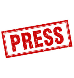 Press red grunge square stamp on white vector