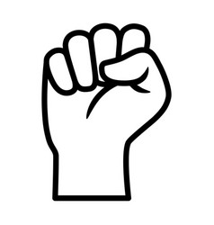Raised fist - courage and strength line icon vector