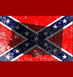 Rebel civil war flag with arizona map vector
