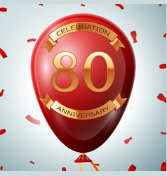 Red balloon with golden inscription eighty years vector
