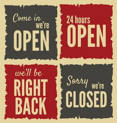 Retro open closed Posters vector image