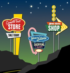 Retro roadside neon lighted sign templates vector