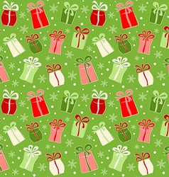Seamless pattern with color gifts and snowflakes vector image