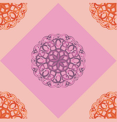 seamless pattern with pink ornamental decor vector image