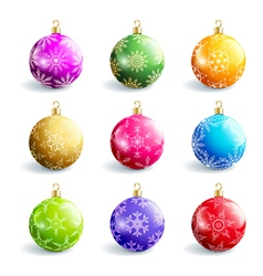 set decorative colorful christmas balls vector image