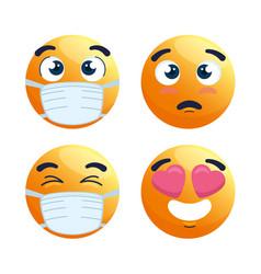 Set emoji wearing medical mask yellow faces vector