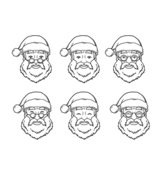 set smiling santa claus face with round glasses vector image
