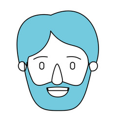 Silhouette cartoon front view face man bearded vector
