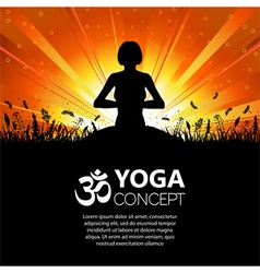 Silhouette of a Girl in Yoga pose vector image