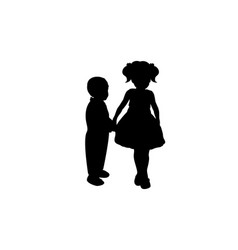 silhouettes girls sister and boy brother vector image