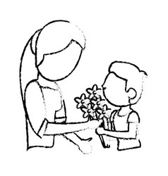 Sketch mother and son bouquet flowers vector